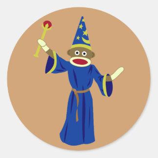 Sock Monkey Wizard Classic Round Sticker