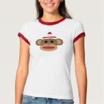 Sock Monkey Women's Ringer T-Shirt, White/Red T-Shirt