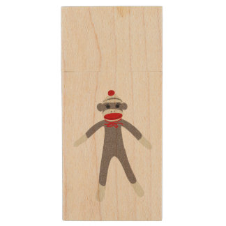 Sock Monkey Wood USB Flash Drive