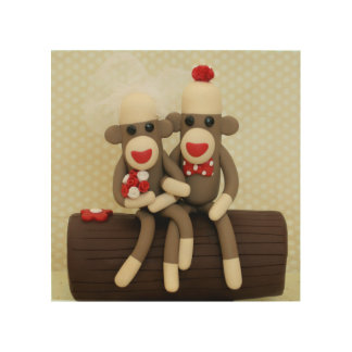 Sock Monkey Woodland Wedding Couple Wood Wall Art