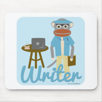 Sock Monkey Writer Deluxe Mouse Pad