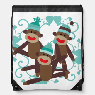 Sock Monkeys Blue Drawstring Bag