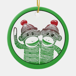Sock Monkeys Circle Ornament