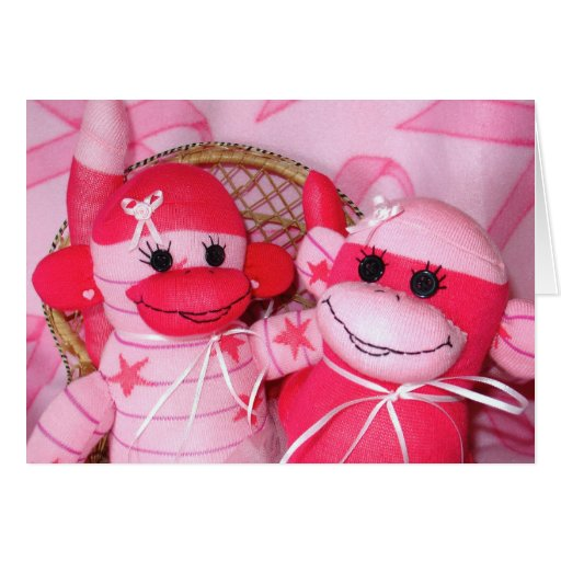 Sock Monkeys for the Cure Pink Friends Note Card