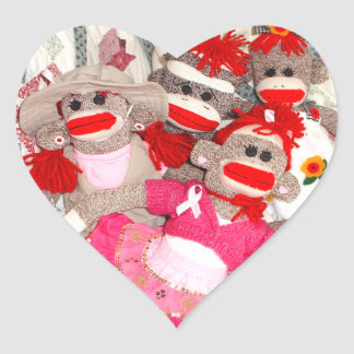 Sock Monkeys for the Cure Pink Heart Stickers