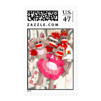Sock Monkeys for the Cure Pink Ribbon Postage