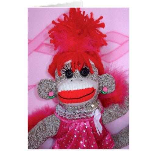 Sock Monkeys for the Cure Pink Velvet Denise Card