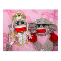 Sock Monkeys for the Cure Two Friends Postcard