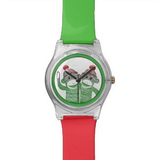 Sock Monkeys Green and Red Wristwatch