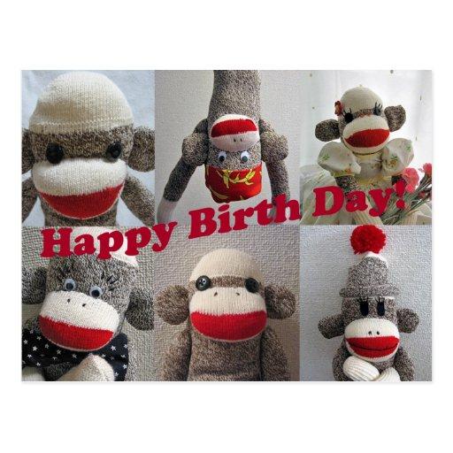 Sock Monkeys Happy Birthday Card Postcards