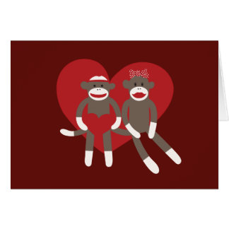 Sock Monkeys in Love Hearts Valentine's Day Gifts Card