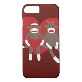 Sock Monkeys in Love Hearts Valentine's Day Gifts iPhone 7 Case