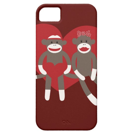 Sock Monkeys in Love Hearts Valentine's Day Gifts iPhone SE/5/5s Case