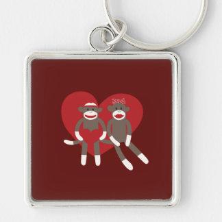 Sock Monkeys in Love Hearts Valentine's Day Gifts Keychain