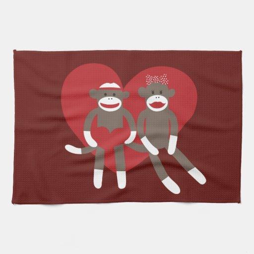Sock Monkeys in Love Hearts Valentine's Day Gifts Kitchen Towel