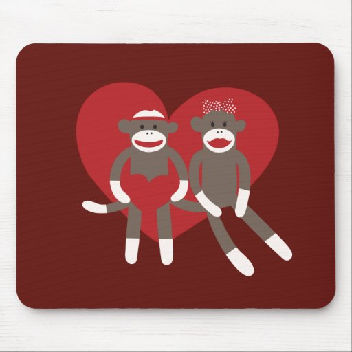 Sock Monkeys in Love Hearts Valentine's Day Gifts Mouse Pad