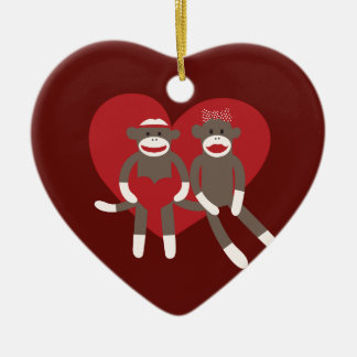 Sock Monkeys in Love Hearts Valentine's Day Gifts Double-Sided Heart Ceramic Christmas Ornament