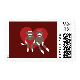 Sock Monkeys in Love Hearts Valentine's Day Gifts Postage Stamp