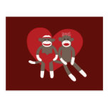 Sock Monkeys in Love Hearts Valentine's Day Gifts Post Card