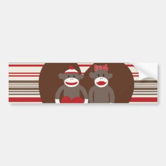 Sock Monkeys in Love Valentine's Day Heart Gifts Bumper Sticker
