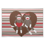 Sock Monkeys in Love Valentine's Day Heart Gifts Cloth Place Mat