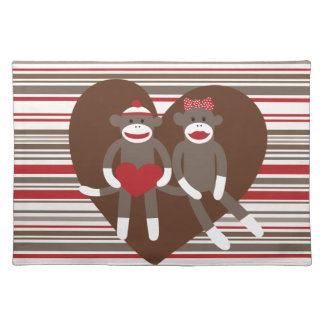 Sock Monkeys in Love Valentine's Day Heart Gifts Cloth Placemat