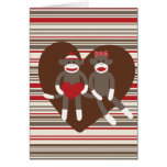 Sock Monkeys in Love Valentine's Day Heart Gifts Greeting Card