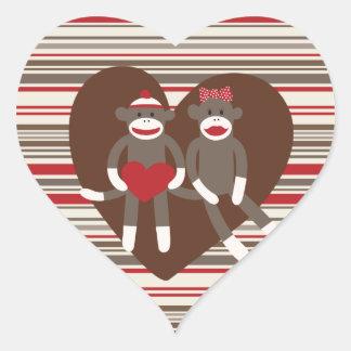 Sock Monkeys in Love Valentine's Day Heart Gifts Heart Sticker