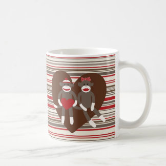 Sock Monkeys in Love Valentine's Day Heart Gifts Classic White Coffee Mug