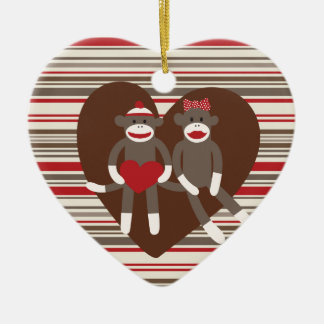 Sock Monkeys in Love Valentine's Day Heart Gifts Double-Sided Heart Ceramic Christmas Ornament