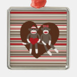 Sock Monkeys in Love Valentine's Day Heart Gifts Christmas Tree Ornaments