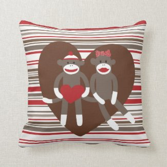 Sock Monkeys in Love Valentine's Day Heart Gifts Throw Pillows