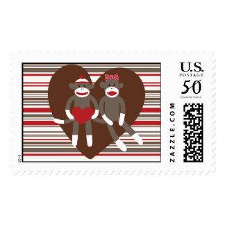 Sock Monkeys in Love Valentine's Day Heart Gifts Postage