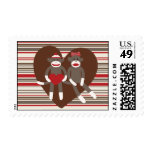 Sock Monkeys in Love Valentine's Day Heart Gifts Postage Stamp