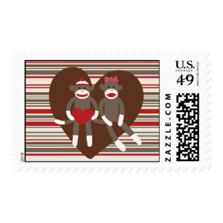 Sock Monkeys in Love Valentine's Day Heart Gifts Postage Stamp