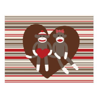 Sock Monkeys in Love Valentine's Day Heart Gifts Postcards