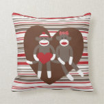 Sock Monkeys in Love Valentine's Day Heart Gifts Throw Pillow