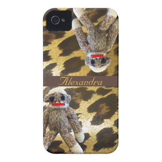 Sock Monkeys on Girly Leopard Fur iPhone 4 Case