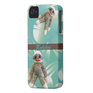 Sock Monkeys on Hawaiian  Print Turquoise iPhone 4 Case-Mate Cases