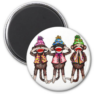 Sock Monkeys-See, Hear, Speak No Evil 2 Inch Round Magnet