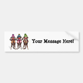 Sock Monkeys-See, Hear, Speak No Evil Bumper Sticker