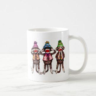 Sock Monkeys-See, Hear, Speak No Evil Classic White Coffee Mug
