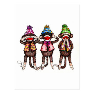 Sock Monkeys-See, Hear, Speak No Evil Postcard