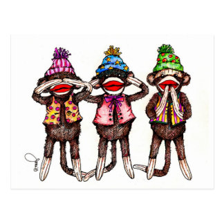 Sock Monkeys-See, Hear, Speak No Evil Postcard