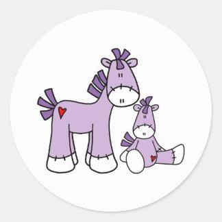 Sock Ponies Pink Classic Round Sticker