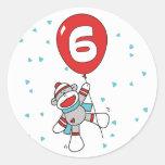 Sockmonkey 6th Birthday Round Stickers