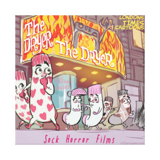 "Socks Horror Films ""The Dryer"" Funny Canvas Print"