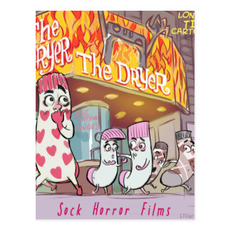 Socks Horror Films The Dryer Funny Postcard