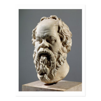 Sócrates, cabeza de mármol, copia de un bronce del postal