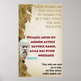 Socrates famous quote – False words Poster